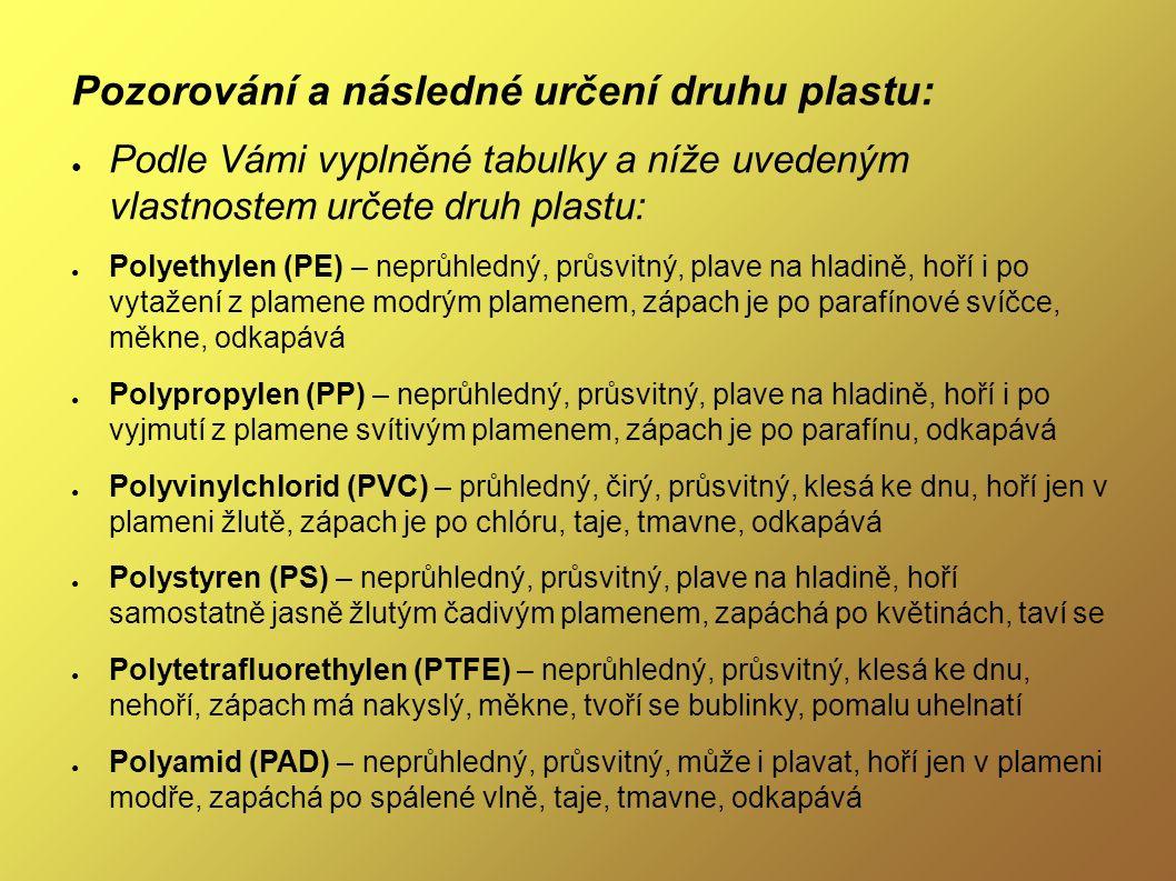 Pozorování a následné určení druhu plastu: ● Podle Vámi vyplněné tabulky a níže uvedeným vlastnostem určete druh plastu: ● Polyethylen (PE) – neprůhledný, průsvitný, plave na hladině, hoří i po vytažení z plamene modrým plamenem, zápach je po parafínové svíčce, měkne, odkapává ● Polypropylen (PP) – neprůhledný, průsvitný, plave na hladině, hoří i po vyjmutí z plamene svítivým plamenem, zápach je po parafínu, odkapává ● Polyvinylchlorid (PVC) – průhledný, čirý, průsvitný, klesá ke dnu, hoří jen v plameni žlutě, zápach je po chlóru, taje, tmavne, odkapává ● Polystyren (PS) – neprůhledný, průsvitný, plave na hladině, hoří samostatně jasně žlutým čadivým plamenem, zapáchá po květinách, taví se ● Polytetrafluorethylen (PTFE) – neprůhledný, průsvitný, klesá ke dnu, nehoří, zápach má nakyslý, měkne, tvoří se bublinky, pomalu uhelnatí ● Polyamid (PAD) – neprůhledný, průsvitný, může i plavat, hoří jen v plameni modře, zapáchá po spálené vlně, taje, tmavne, odkapává
