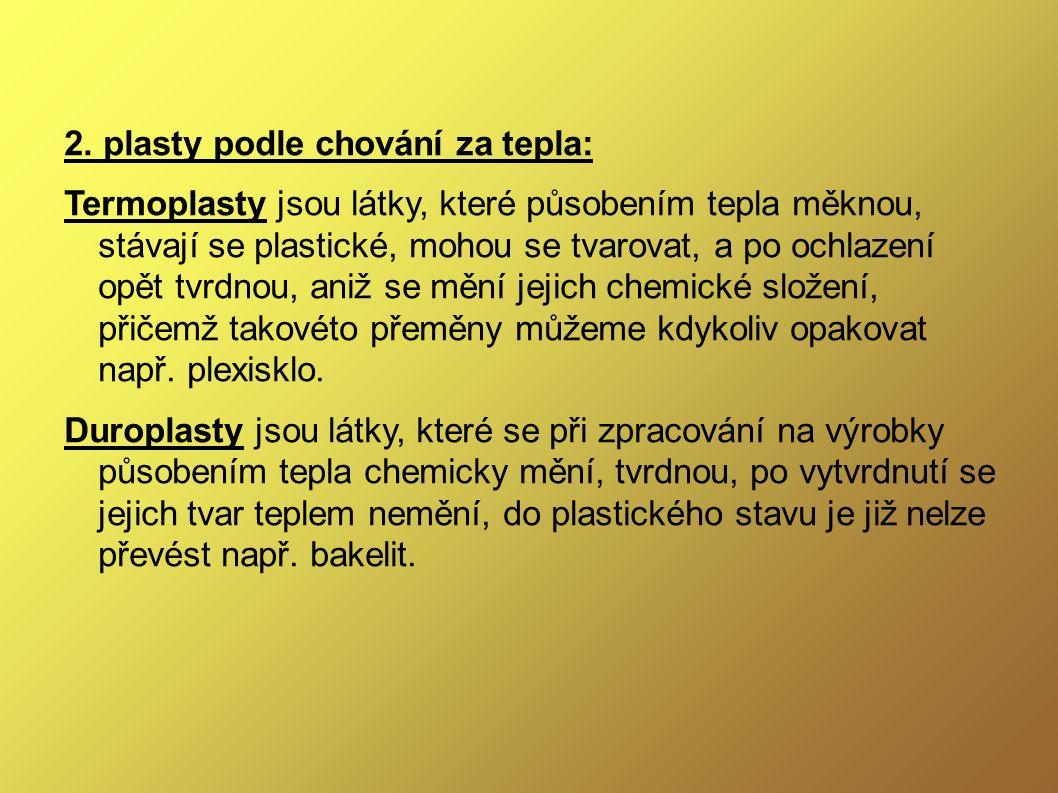 Nejznámější plasty ● Polyethylen ● Polypropylen ● Polyvinylchlorid ● Polystyren ● Polytetrafluorethylen
