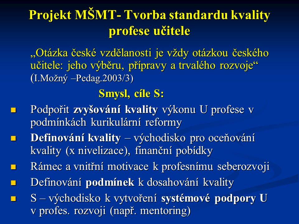 """Projekt MŠMT- Tvorba standardu kvality profese učitele """"Otázka české vzdělanosti je vždy otázkou českého učitele: jeho výběru, přípravy a trvalého roz"""