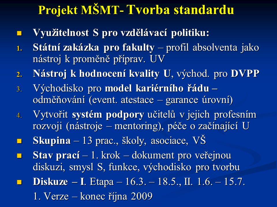 Projekt MŠMT- Tvorba standardu Využitelnost S pro vzdělávací politiku: Využitelnost S pro vzdělávací politiku: 1. Státní zakázka pro fakulty – profil