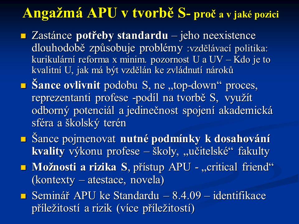 Angažmá APU v tvorbě S - proč a v jaké pozici Zastánce potřeby standardu – jeho neexistence dlouhodobě způsobuje problémy :vzdělávací politika: kurikulární reforma x minim.