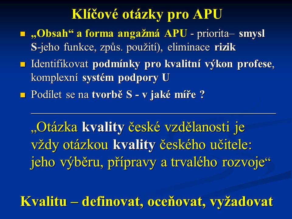 """Klíčové otázky pro APU """"Obsah"""" a forma angažmá APU - priorita– smysl S-jeho funkce, způs. použití), eliminace rizik """"Obsah"""" a forma angažmá APU - prio"""