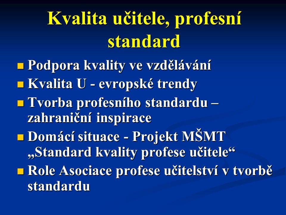 """Kvalita učitele, profesní standard Podpora kvality ve vzdělávání Podpora kvality ve vzdělávání Kvalita U - evropské trendy Kvalita U - evropské trendy Tvorba profesního standardu – zahraniční inspirace Tvorba profesního standardu – zahraniční inspirace Domácí situace - Projekt MŠMT """"Standard kvality profese učitele Domácí situace - Projekt MŠMT """"Standard kvality profese učitele Role Asociace profese učitelství v tvorbě standardu Role Asociace profese učitelství v tvorbě standardu"""