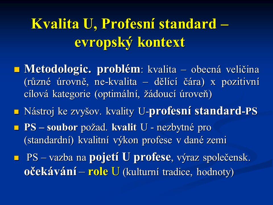 Kvalita U, Profesní standard – evropský kontext Metodologic. problém : kvalita – obecná veličina (různé úrovně, ne-kvalita – dělící čára) x pozitivní