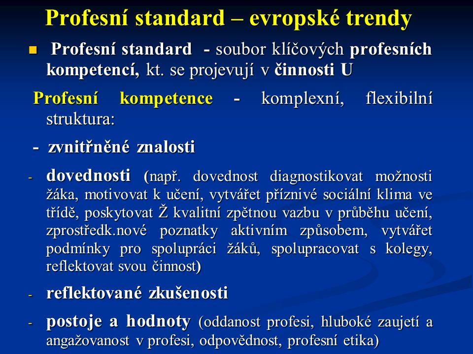 Profesní standard – evropské trendy Profesní standard - soubor klíčových profesních kompetencí, kt. se projevují v činnosti U Profesní standard - soub