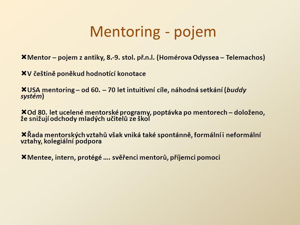 Mentoring - pojem  Mentor – pojem z antiky, 8.-9.