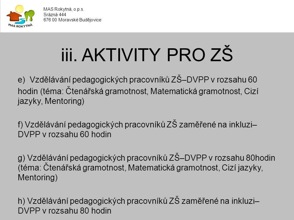e) Vzdělávání pedagogických pracovníků ZŠ–DVPP v rozsahu 60 hodin (téma: Čtenářská gramotnost, Matematická gramotnost, Cizí jazyky, Mentoring) f) Vzdělávání pedagogických pracovníků ZŠ zaměřené na inkluzi– DVPP v rozsahu 60 hodin g) Vzdělávání pedagogických pracovníků ZŠ–DVPP v rozsahu 80hodin (téma: Čtenářská gramotnost, Matematická gramotnost, Cizí jazyky, Mentoring) h) Vzdělávání pedagogických pracovníků ZŠ zaměřené na inkluzi– DVPP v rozsahu 80 hodin iii.