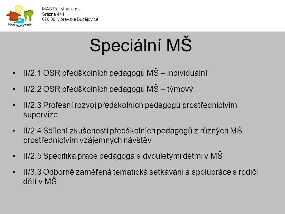 II/2.1 OSR předškolních pedagogů MŠ – individuální II/2.2 OSR předškolních pedagogů MŠ – týmový II/2.3 Profesní rozvoj předškolních pedagogů prostřednictvím supervize II/2.4 Sdílení zkušeností předškolních pedagogů z různých MŠ prostřednictvím vzájemných návštěv II/2.5 Specifika práce pedagoga s dvouletými dětmi v MŠ II/3.3 Odborně zaměřená tematická setkávání a spolupráce s rodiči dětí v MŠ Speciální MŠ MAS Rokytná, o.p.s.