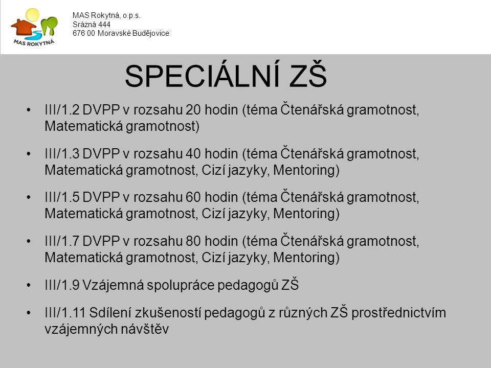 III/1.2 DVPP v rozsahu 20 hodin (téma Čtenářská gramotnost, Matematická gramotnost) III/1.3 DVPP v rozsahu 40 hodin (téma Čtenářská gramotnost, Matematická gramotnost, Cizí jazyky, Mentoring) III/1.5 DVPP v rozsahu 60 hodin (téma Čtenářská gramotnost, Matematická gramotnost, Cizí jazyky, Mentoring) III/1.7 DVPP v rozsahu 80 hodin (téma Čtenářská gramotnost, Matematická gramotnost, Cizí jazyky, Mentoring) III/1.9 Vzájemná spolupráce pedagogů ZŠ III/1.11 Sdílení zkušeností pedagogů z různých ZŠ prostřednictvím vzájemných návštěv SPECIÁLNÍ ZŠ MAS Rokytná, o.p.s.