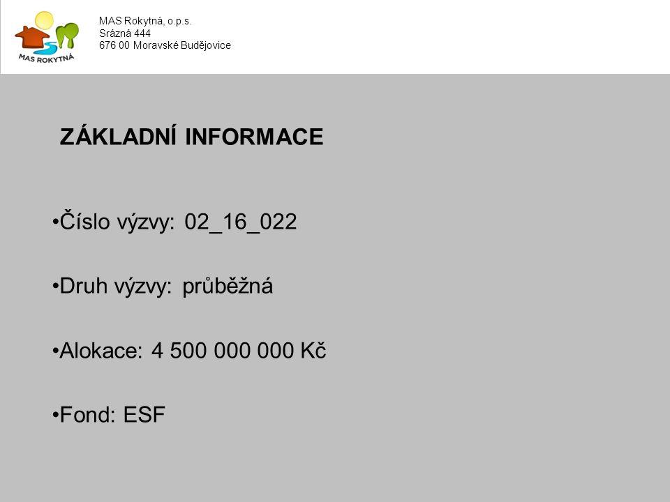 ZÁKLADNÍ INFORMACE Číslo výzvy: 02_16_022 Druh výzvy: průběžná Alokace: 4 500 000 000 Kč Fond: ESF MAS Rokytná, o.p.s.