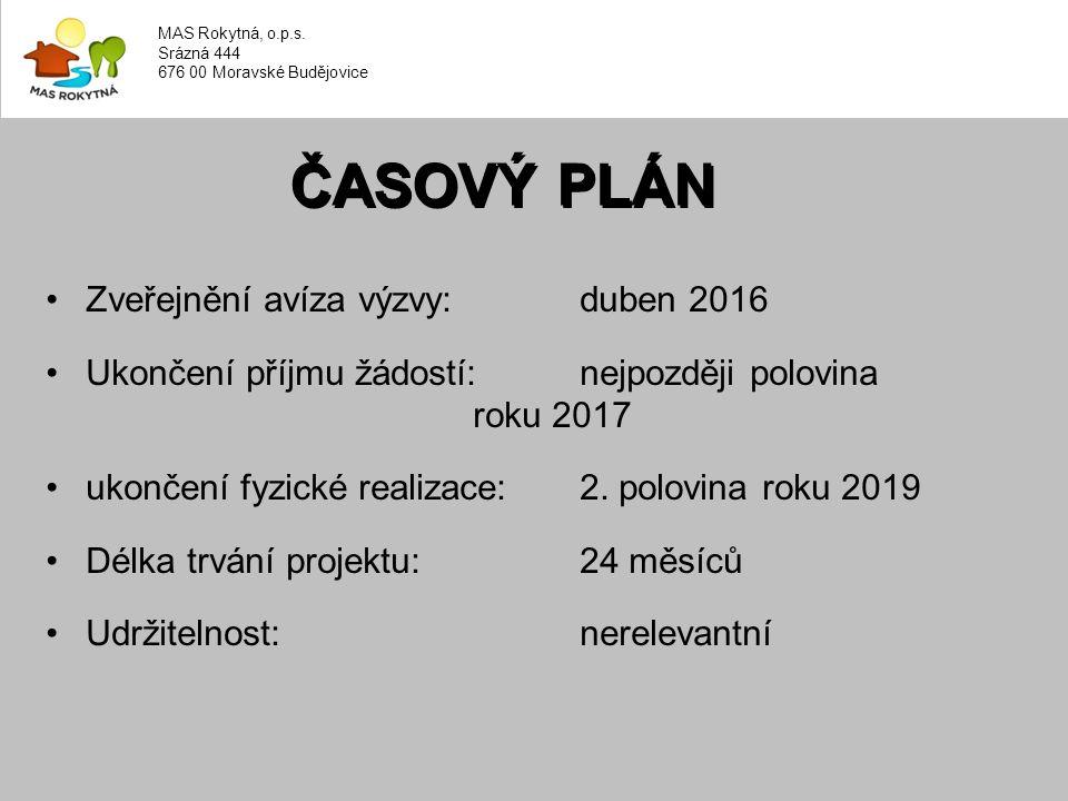Zveřejnění avíza výzvy: duben 2016 Ukončení příjmu žádostí: nejpozději polovina roku 2017 ukončení fyzické realizace: 2.