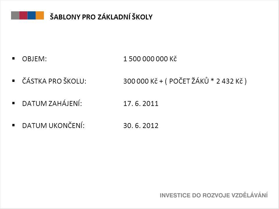 ŠABLONY PRO ZÁKLADNÍ ŠKOLY  OBJEM: 1 500 000 000 Kč  ČÁSTKA PRO ŠKOLU:300 000 Kč + ( POČET ŽÁKŮ * 2 432 Kč )  DATUM ZAHÁJENÍ: 17. 6. 2011  DATUM U