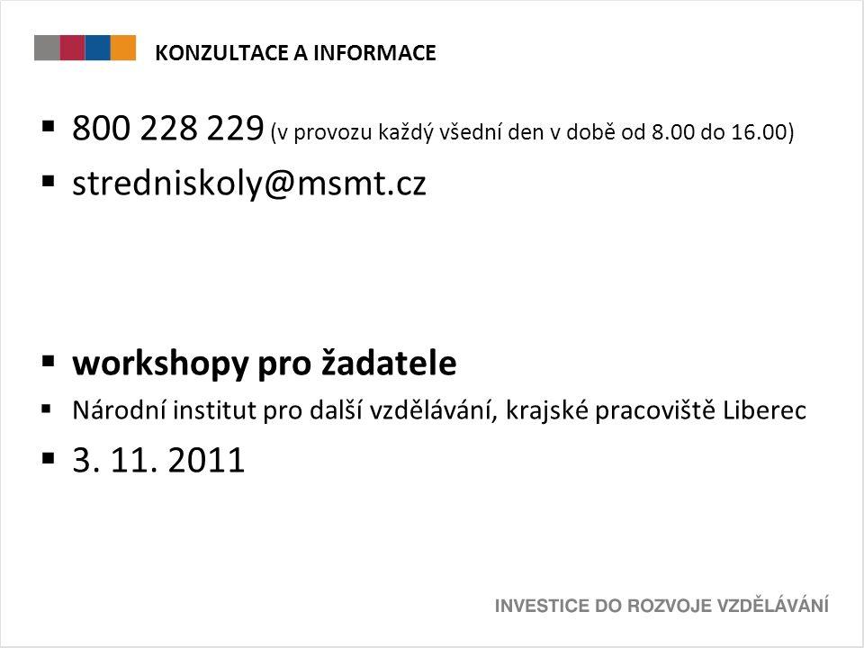KONZULTACE A INFORMACE  800 228 229 (v provozu každý všední den v době od 8.00 do 16.00)  stredniskoly@msmt.cz  workshopy pro žadatele  Národní institut pro další vzdělávání, krajské pracoviště Liberec  3.
