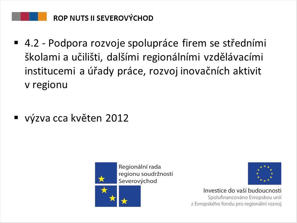 ROP NUTS II SEVEROVÝCHOD  4.2 - Podpora rozvoje spolupráce firem se středními školami a učilišti, dalšími regionálními vzdělávacími institucemi a úřady práce, rozvoj inovačních aktivit v regionu  výzva cca květen 2012