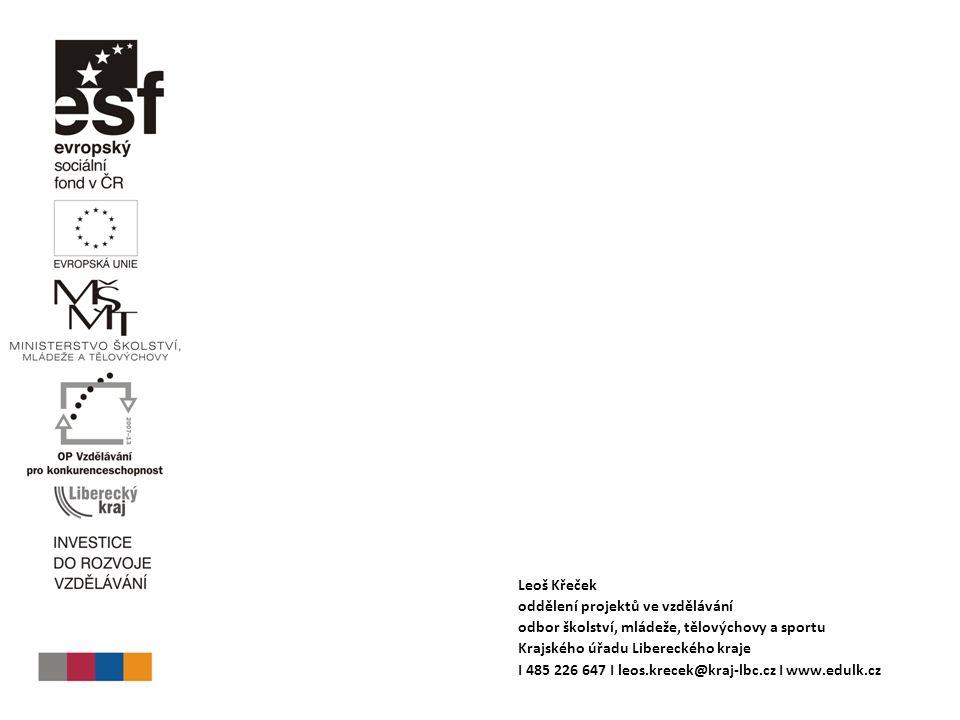Leoš Křeček oddělení projektů ve vzdělávání odbor školství, mládeže, tělovýchovy a sportu Krajského úřadu Libereckého kraje I 485 226 647 I leos.krecek@kraj-lbc.cz I www.edulk.cz