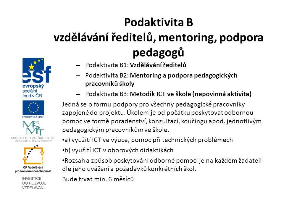 Podaktivita B vzdělávání ředitelů, mentoring, podpora pedagogů – Podaktivita B1: Vzdělávání ředitelů – Podaktivita B2: Mentoring a podpora pedagogický
