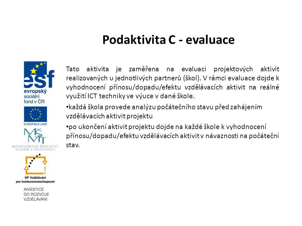 Podaktivita C - evaluace Tato aktivita je zaměřena na evaluaci projektových aktivit realizovaných u jednotlivých partnerů (škol). V rámci evaluace doj