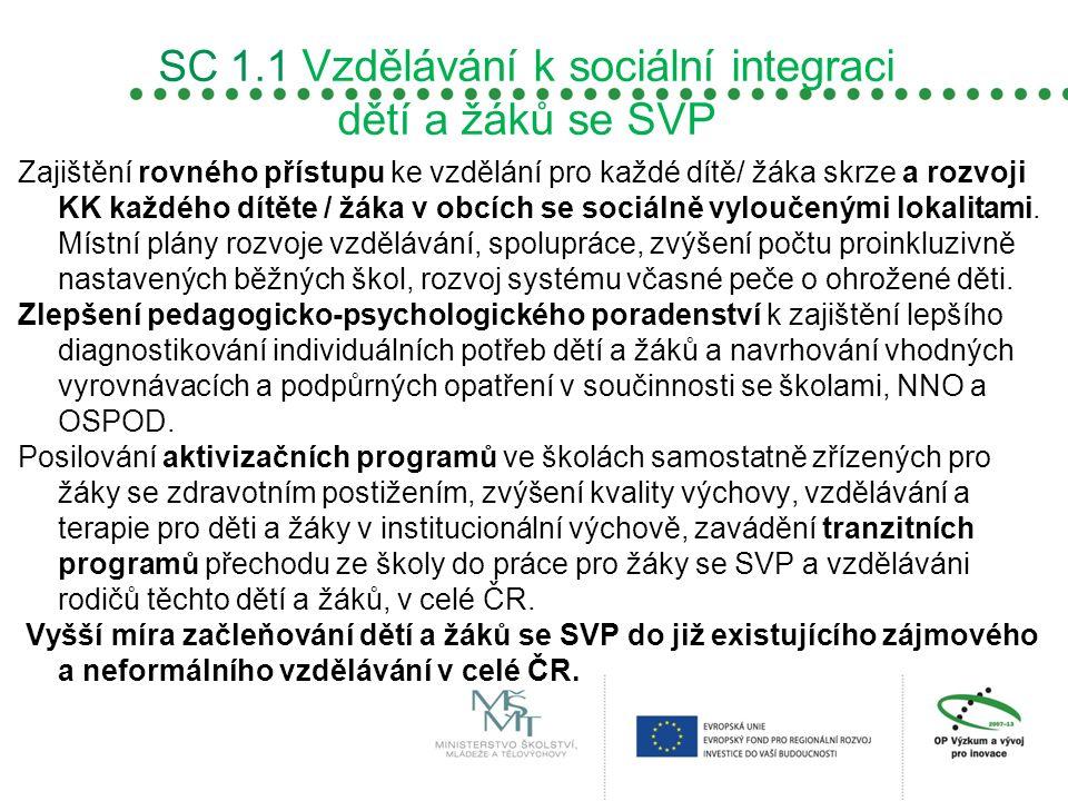 SC 1.1 Vzdělávání k sociální integraci dětí a žáků se SVP Zajištění rovného přístupu ke vzdělání pro každé dítě/ žáka skrze a rozvoji KK každého dítět