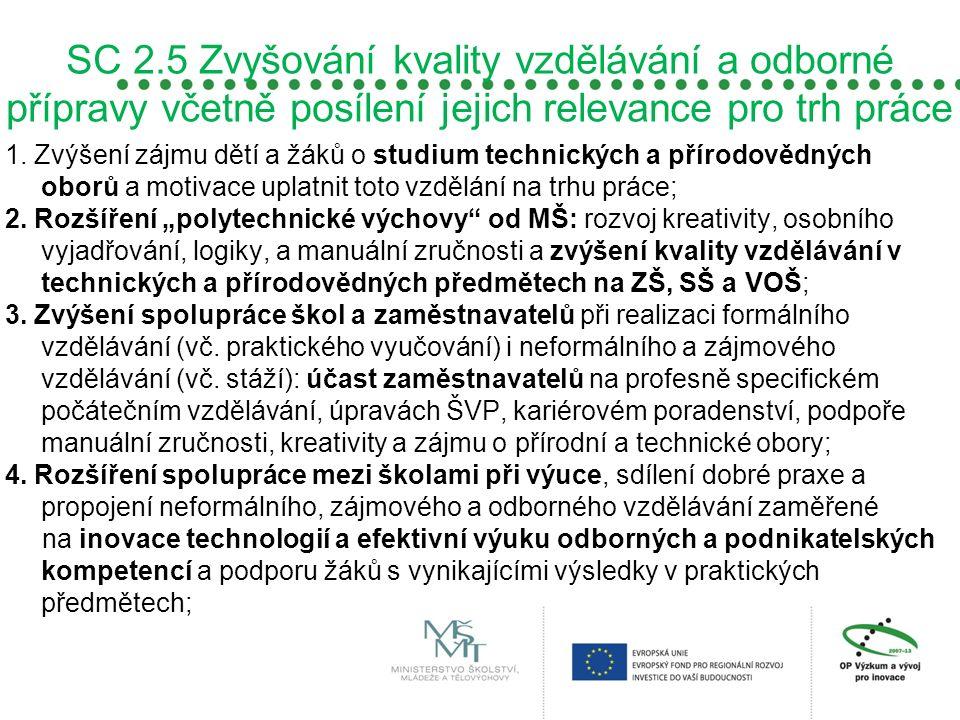 SC 2.5 Zvyšování kvality vzdělávání a odborné přípravy včetně posílení jejich relevance pro trh práce 1. Zvýšení zájmu dětí a žáků o studium technický