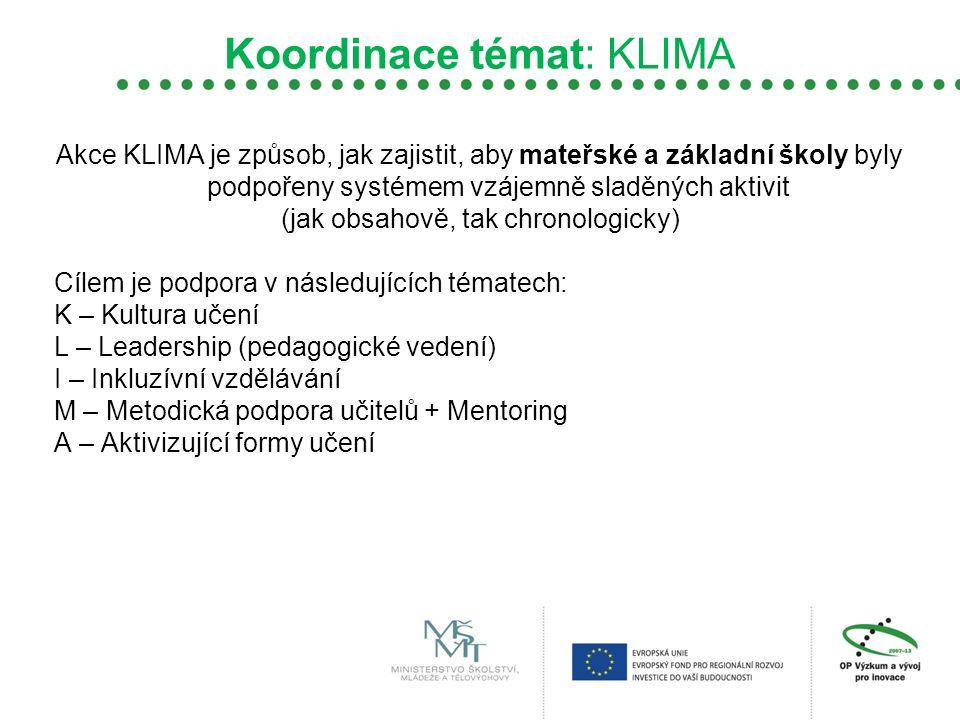 Koordinace témat: KLIMA Akce KLIMA je způsob, jak zajistit, aby mateřské a základní školy byly podpořeny systémem vzájemně sladěných aktivit (jak obsa
