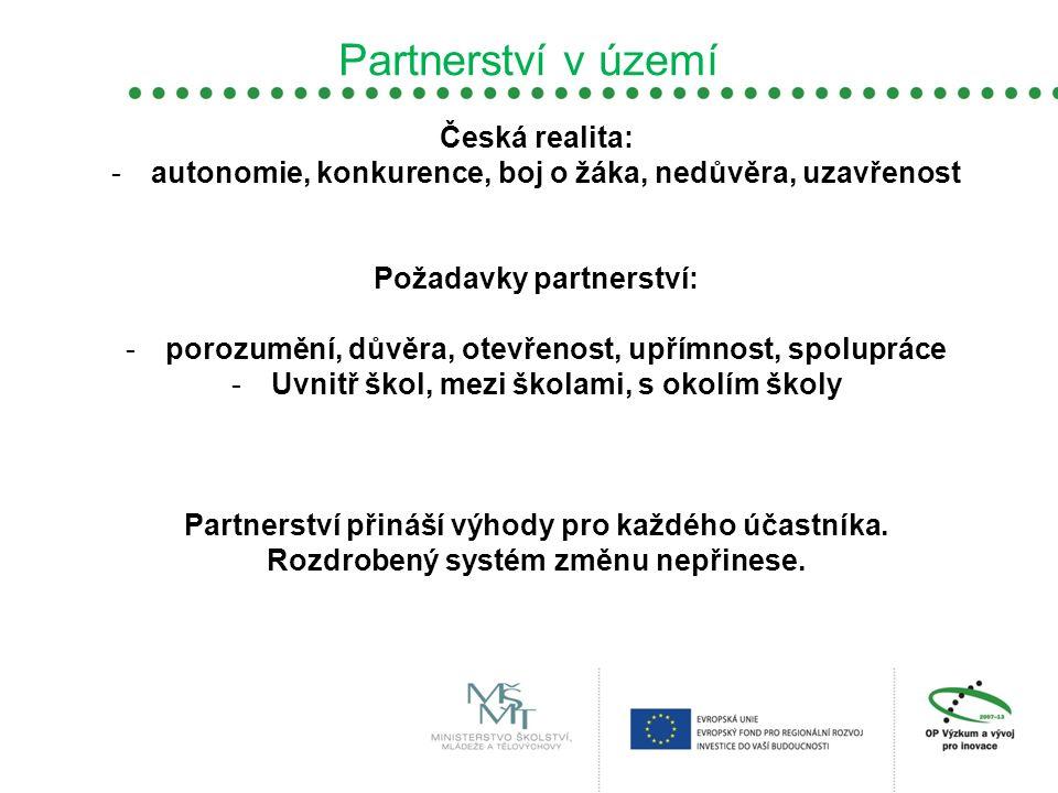 Partnerství v území Česká realita: -autonomie, konkurence, boj o žáka, nedůvěra, uzavřenost Požadavky partnerství: -porozumění, důvěra, otevřenost, up