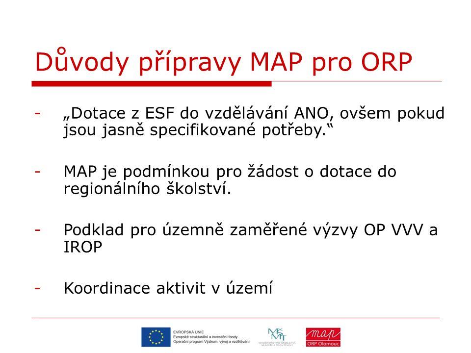 """Důvody přípravy MAP pro ORP -""""Dotace z ESF do vzdělávání ANO, ovšem pokud jsou jasně specifikované potřeby. -MAP je podmínkou pro žádost o dotace do regionálního školství."""
