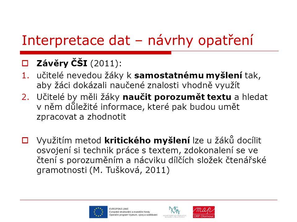 Interpretace dat – návrhy opatření  Závěry ČŠI (2011): 1.učitelé nevedou žáky k samostatnému myšlení tak, aby žáci dokázali naučené znalosti vhodně v