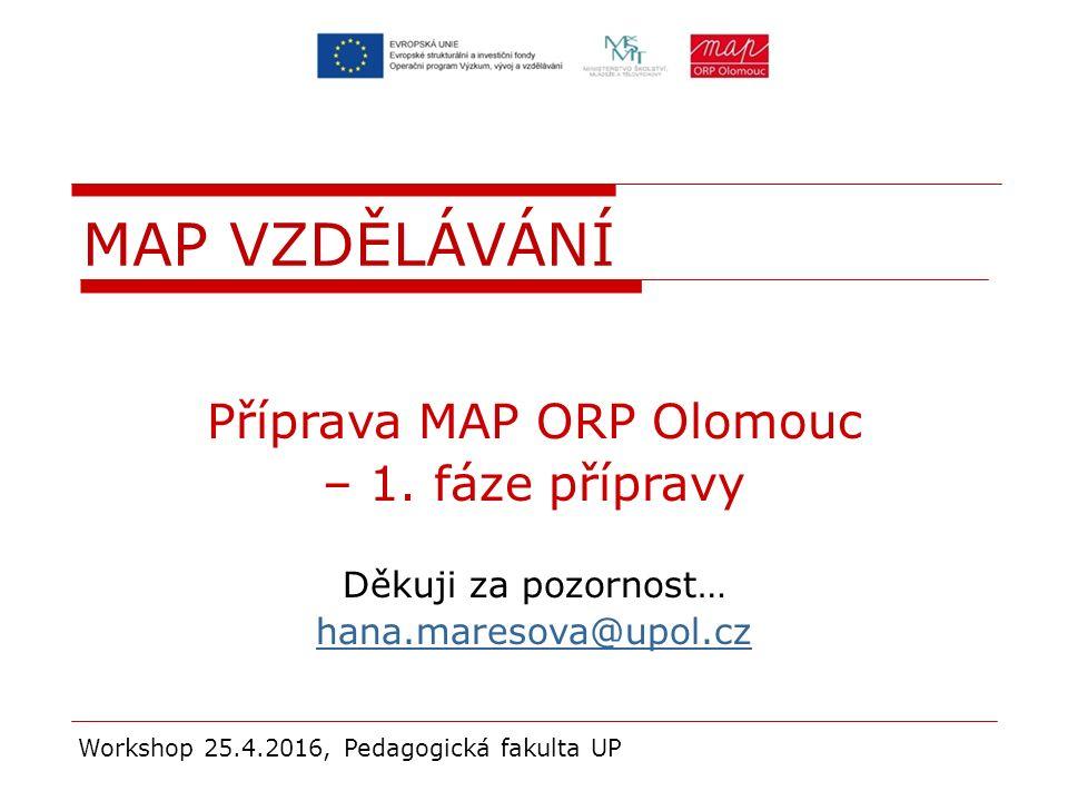 Příprava MAP ORP Olomouc – 1. fáze přípravy Děkuji za pozornost… hana.maresova@upol.cz Workshop 25.4.2016, Pedagogická fakulta UP MAP VZDĚLÁVÁNÍ