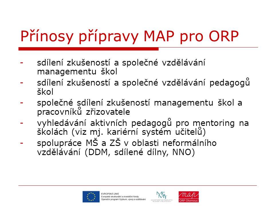 Přínosy přípravy MAP pro ORP -sdílení zkušeností a společné vzdělávání managementu škol -sdílení zkušeností a společné vzdělávání pedagogů škol -společné sdílení zkušeností managementu škol a pracovníků zřizovatele -vyhledávání aktivních pedagogů pro mentoring na školách (viz mj.