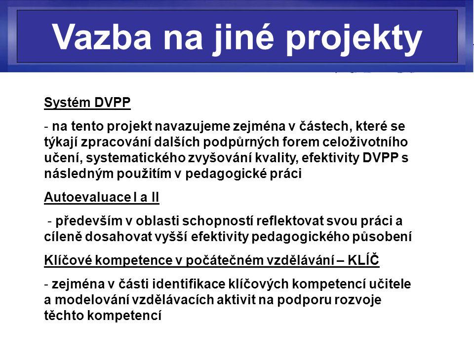 Vazba na jiné projekty Systém DVPP - na tento projekt navazujeme zejména v částech, které se týkají zpracování dalších podpůrných forem celoživotního