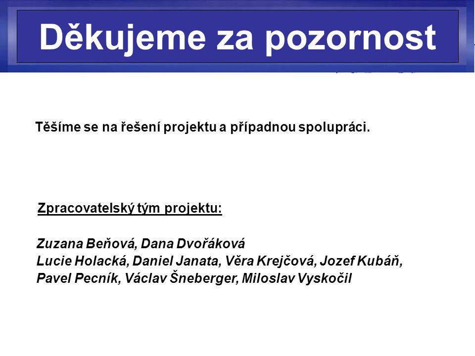 Děkujeme za pozornost Těšíme se na řešení projektu a případnou spolupráci.