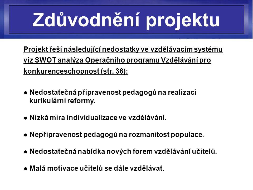 Zdůvodnění projektu Projekt řeší následující nedostatky ve vzdělávacím systému viz SWOT analýza Operačního programu Vzdělávání pro konkurenceschopnost (str.