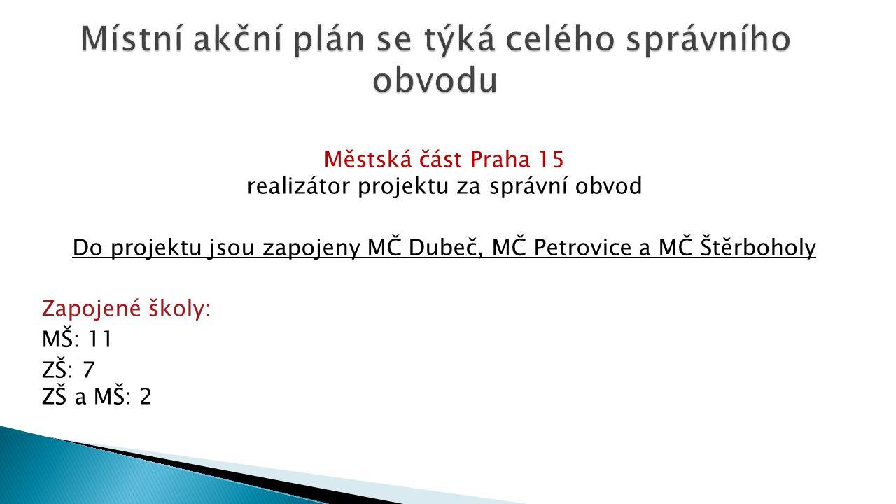 Městská část Praha 15 realizátor projektu za správní obvod Do projektu jsou zapojeny MČ Dubeč, MČ Petrovice a MČ Štěrboholy Zapojené školy: MŠ: 11 ZŠ:
