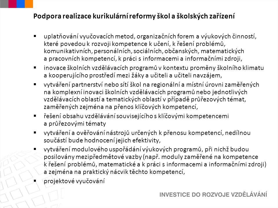 Podpora realizace kurikulární reformy škol a školských zařízení  uplatňování vyučovacích metod, organizačních forem a výukových činností, které poved