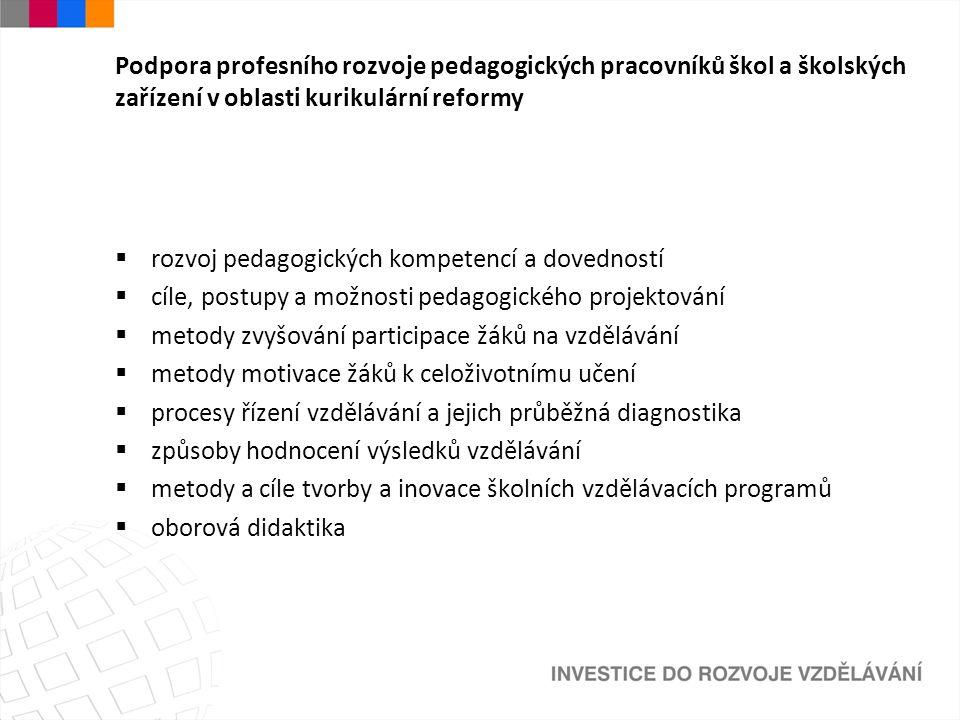 Podpora profesního rozvoje pedagogických pracovníků škol a školských zařízení v oblasti kurikulární reformy  rozvoj pedagogických kompetencí a dovedn