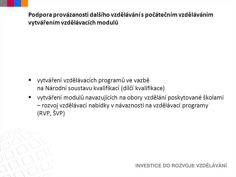 Podpora provázanosti dalšího vzdělávání s počátečním vzděláváním vytvářením vzdělávacích modulů  vytváření vzdělávacích programů ve vazbě na Národní soustavu kvalifikací (dílčí kvalifikace)  vytváření modulů navazujících na obory vzdělání poskytované školami – rozvoj vzdělávací nabídky v návaznosti na vzdělávací programy (RVP, ŠVP)