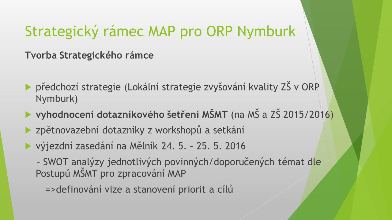 Strategický rámec MAP pro ORP Nymburk Tvorba Strategického rámce  předchozí strategie (Lokální strategie zvyšování kvality ZŠ v ORP Nymburk)  vyhodnocení dotazníkového šetření MŠMT (na MŠ a ZŠ 2015/2016)  zpětnovazební dotazníky z workshopů a setkání  výjezdní zasedání na Mělník 24.