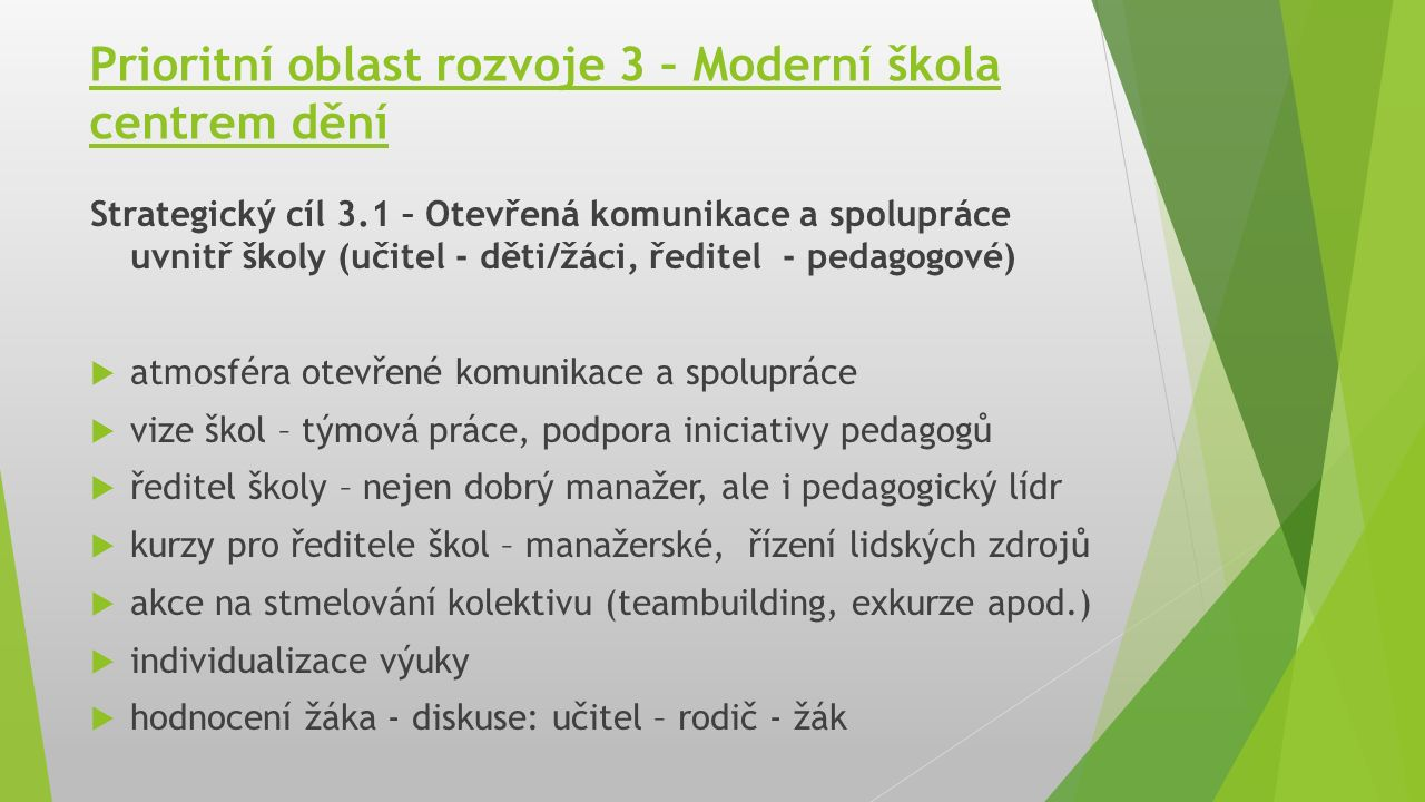 Prioritní oblast rozvoje 3 – Moderní škola centrem dění Strategický cíl 3.1 – Otevřená komunikace a spolupráce uvnitř školy (učitel - děti/žáci, ředit