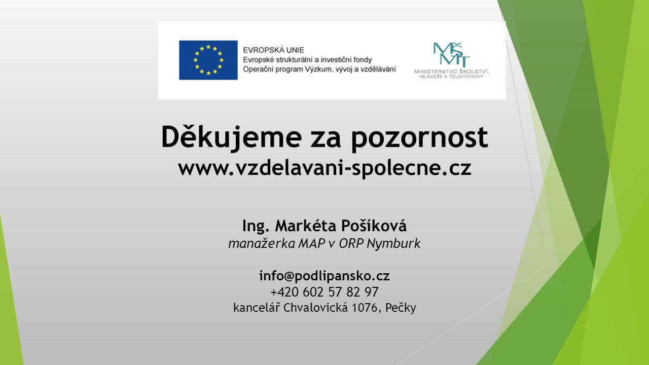 Děkujeme za pozornost www.vzdelavani-spolecne.cz Ing. Markéta Pošíková manažerka MAP v ORP Nymburk info@podlipansko.cz +420 602 57 82 97 kancelář Chva