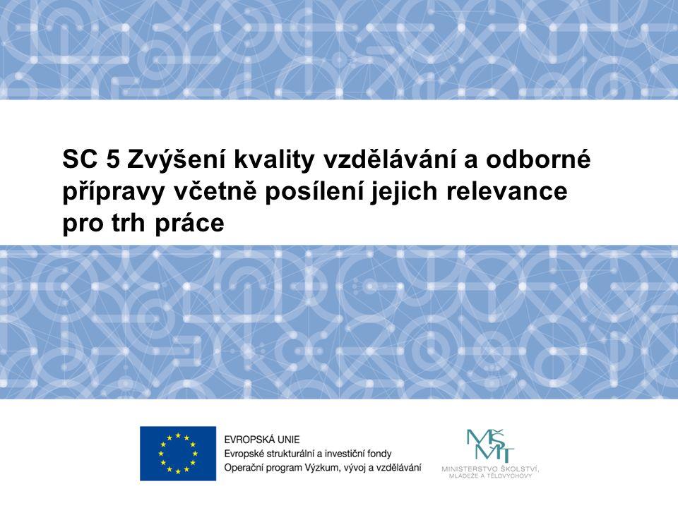 Název kapitoly Název podkapitoly Text SC 5 Zvýšení kvality vzdělávání a odborné přípravy včetně posílení jejich relevance pro trh práce