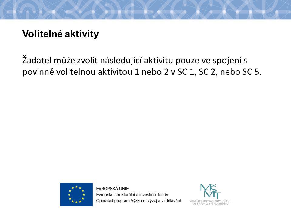 Název kapitoly Název podkapitoly Text Volitelné aktivity Žadatel může zvolit následující aktivitu pouze ve spojení s povinně volitelnou aktivitou 1 nebo 2 v SC 1, SC 2, nebo SC 5.
