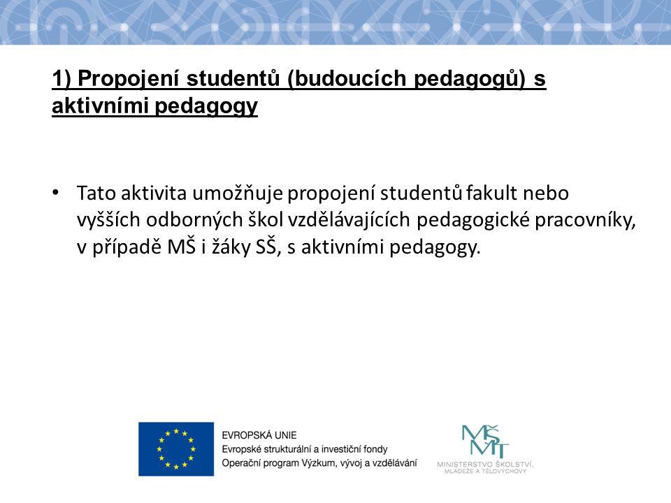 Název kapitoly Název podkapitoly Text 1) Propojení studentů (budoucích pedagogů) s aktivními pedagogy Tato aktivita umožňuje propojení studentů fakult