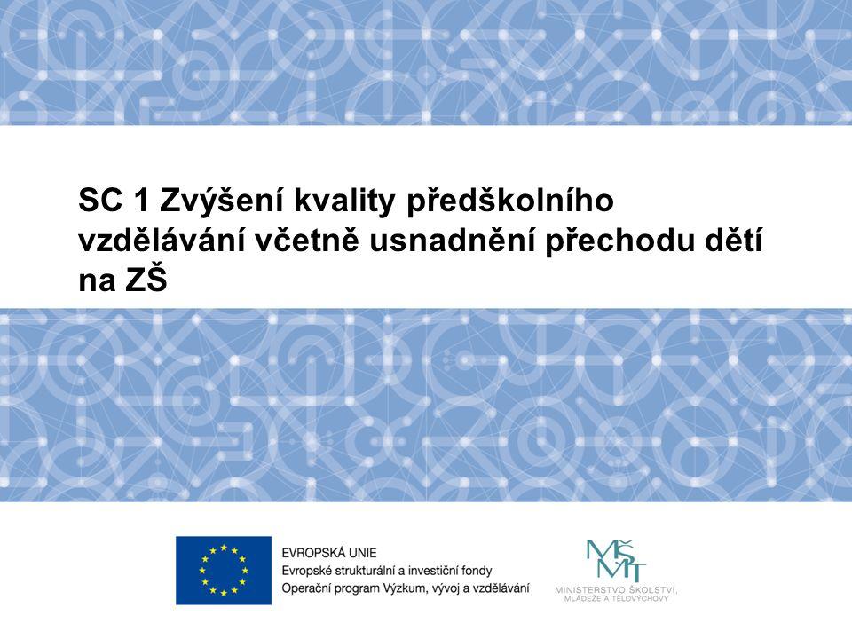 Název kapitoly Název podkapitoly Text SC 1 Zvýšení kvality předškolního vzdělávání včetně usnadnění přechodu dětí na ZŠ