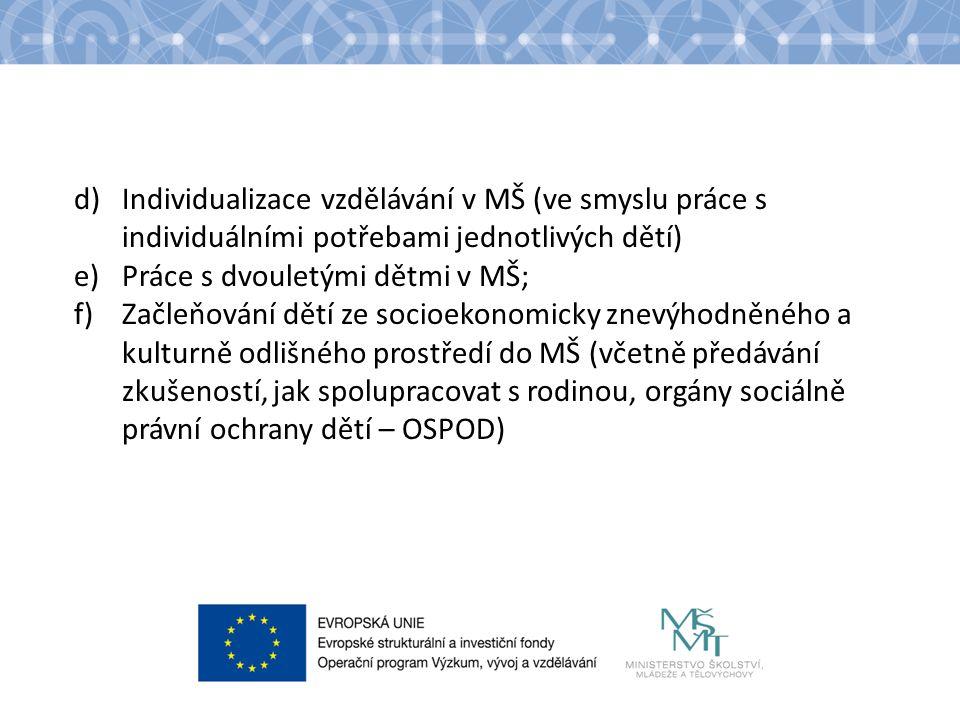 Název kapitoly Název podkapitoly Text Požadavky na vznik sítě Pro témata a – c musí žadatel povinně do projektu zapojit nejméně jednu MŠ v každém kraji včetně hlavního města Prahy v roli partnera projektu nebo spolupracujícího subjektu, celkem 14 zapojených MŠ.