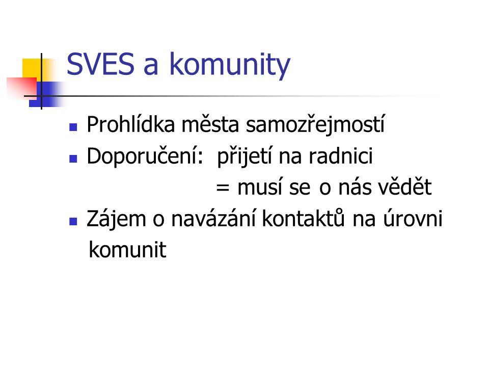 SVES a komunity Prohlídka města samozřejmostí Doporučení: přijetí na radnici = musí se o nás vědět Zájem o navázání kontaktů na úrovni komunit
