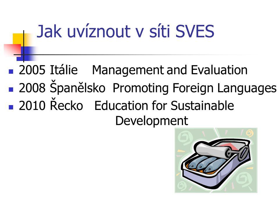 Jak namočit v moři SVES školu 2006 CZ Technologies as Tools of Quality in Education 7 účastníků (GER, POR, UK, PL, TR, SWE, NORW) 2008 CZ Schools and Communities Against Crime and Misbehaviour 4 účastníci (POL, Malta, RU, UK) 2009 CZ Schools and Communities 9 účastníků/1 samoplátce (UK, ES, IT, SI, DK, TUR)
