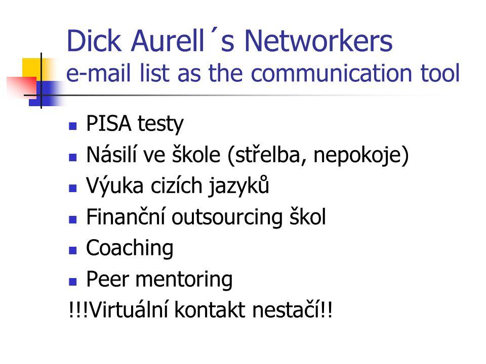 Dick Aurell´s Networkers e-mail list as the communication tool PISA testy Násilí ve škole (střelba, nepokoje) Výuka cizích jazyků Finanční outsourcing škol Coaching Peer mentoring !!!Virtuální kontakt nestačí!!