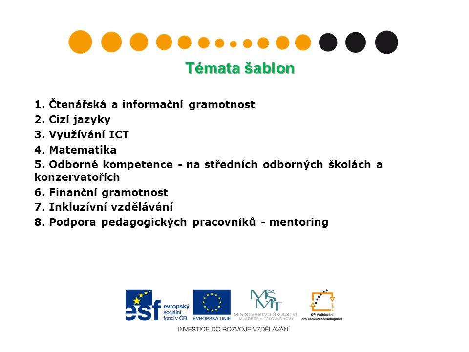 Konkrétní využití šablon směrem k žákům (příklad) Individualizace výuky = rozdělení třídy do menších skupin, výuka realizovaná současně alespoň dvěma učiteli ( z toho 1 hrazen z evropských peněz) K tomu si škola může pořídit i materiální vybavení, např.:  Výukový software  Knihy, učebnice a pracovní sešity  Audio a video materiály