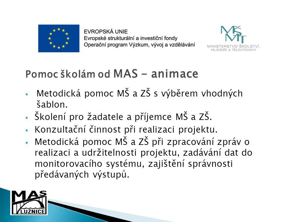 Pomoc školám od MAS - animace  Metodická pomoc MŠ a ZŠ s výběrem vhodných šablon.