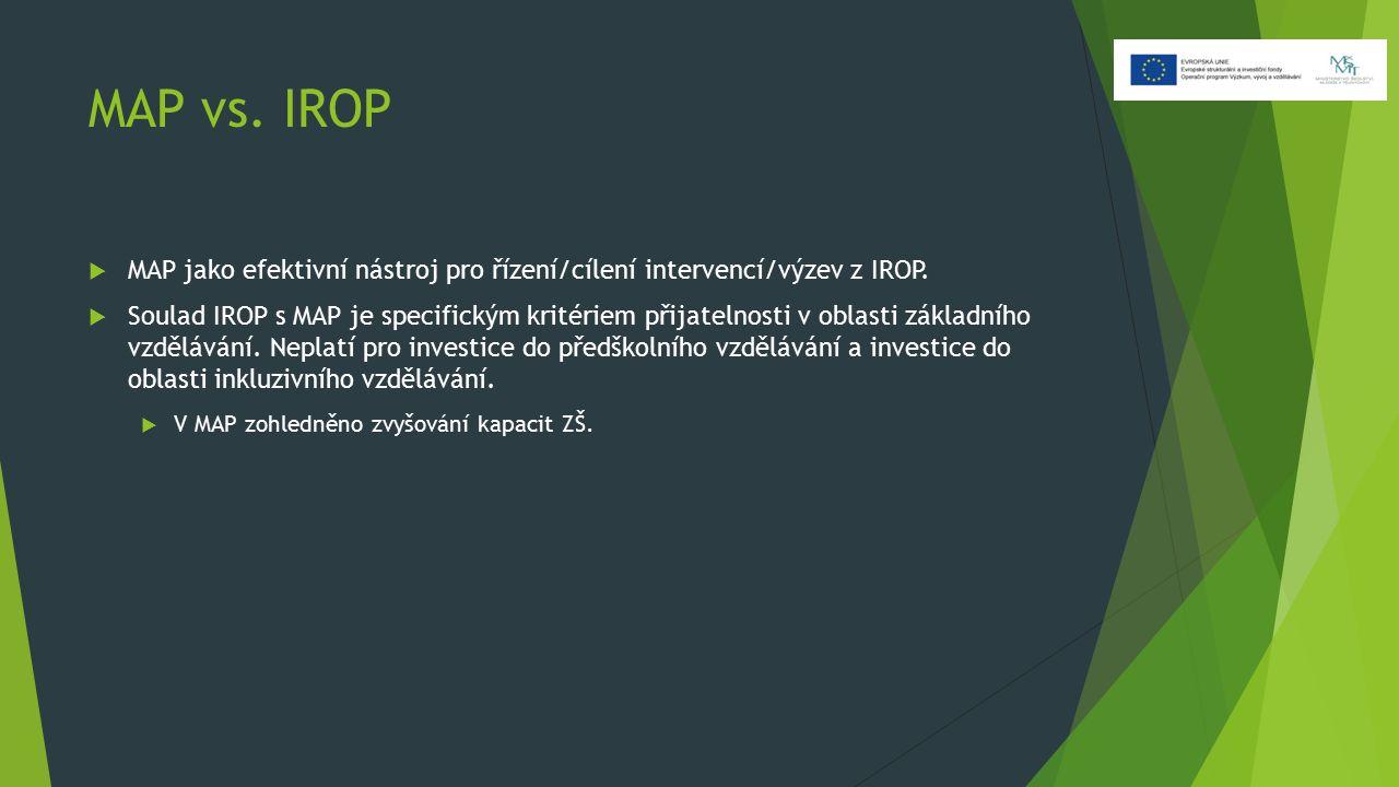MAP vs. IROP  MAP jako efektivní nástroj pro řízení/cílení intervencí/výzev z IROP.  Soulad IROP s MAP je specifickým kritériem přijatelnosti v obla